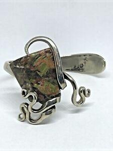 Signed Artisan Cuff Bracelet w/ Jasper Stone Tudor Plate