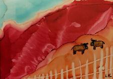 ACEO cows in the orange field original painting by Lynne Kohler