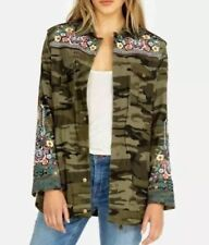 Johnny Was Raquel Drawstring Embroidered Military Coat Boho Chic Large $345 NEW