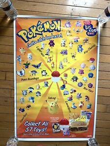 "1999 Pokemon character Nintendo poster Gotta Catch 'em All 33x22"" laminated"