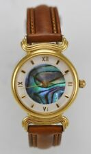 Fossil Watch Womens Stainless Gold Steel Leather Brown 30m Abalone White Quartz