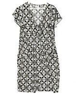 LEONA EDMISTON Women's Size 14 Black White V-Neck Faux Wrap Short Sleeve Dress