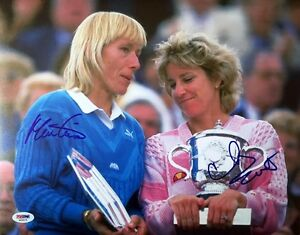 MARTINA NAVRATILOVA & CHRIS EVERT DUAL SIGNED 11x14 PHOTO TENNIS LEGENDS PSA/DNA