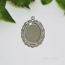 18x13 Oval Silver Plated Flower Cabochon (Cab) Dangle Drop Setting