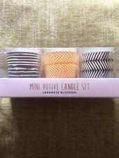 Set Of 3 Mini Votive Candle Mustard/grey Colour - NEW