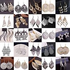 Damen Ohrringe Ohrhänger vergoldet Mode Durchzieher Lange gemusterte Gold/Silber