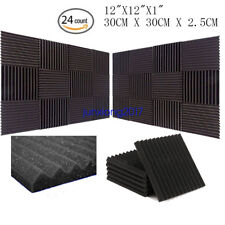 """24 PACK 12""""X 2""""X1"""" Acoustic Foam Panel Wedge Studio Soundproofing Wall Tiles"""