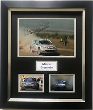 MARCUS GRONHOLM HAND SIGNED FRAMED PHOTO DISPLAY RALLY PEUGEOT.