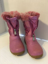Olang Girls Snow Boots Pink 29 US 11 Zip Front Faux Fur Trim Quilted