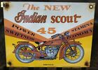 VINTAGE PORCELAIN INDIAN SCOUT MOTORCYCLE DEALERSHIP GAS AND OIL SIGN