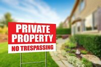 "Private Property No Trespassing 18""x12"" Yard Sign Coroplast + Metal Stake"