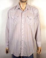 vtg 80s Running S light gray Striped Western Pearl Snap Shirt ls sz 18 XXL