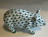 Vintage Andrea by Sadek Green FISHNET PIG Porcelain Figurine