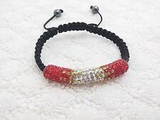 Cylinderical Shape Rhinestone Adjustable Two Tone Color Hand Crafted Bracelet