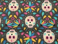 Fabric Skulls Day of Dead Paracas Flowers on Gray Cotton by the 1/4 yard