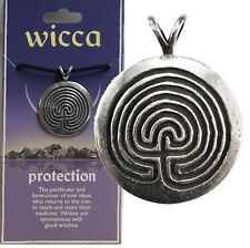 WICCAN PAGAN PROTECTION LABYRINTH DEVIL TRAP AMULET PENDANT W/CORD + STORYCARD