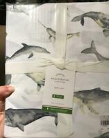 Pottery Barn Seapod Sheet Set Gray Queen Whale Dolphin Coastal Decor Organic New