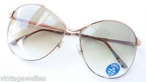 Vintage Sonnenbrille Damen-Brillen Metallgestell XXL Verlaufgläser grün Gr. L