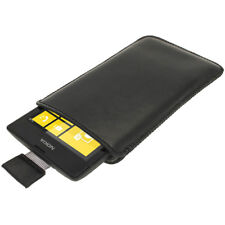 Black Leather Pull Tab Pouch for Nokia Lumia 520 Windows Phone Case Cover Holder