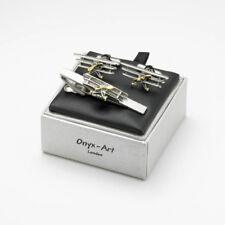 Tri Plane Tie Bar & Cufflink Set By Onyx Art Boxed TBC14