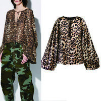 Fashion Women Leopard Print Long Sleeve V Neck Loose Casual Blouse Tops T-Shirt