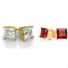 Gold Stainless Steel Stud Earrings Cubic Zirconia Men Women 2PC Earrings Set