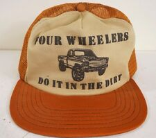 FOUR WHEELERS DO IT BETTER IN THE DIRT Trucker Hat Mesh Vintage 80s Brown Truck