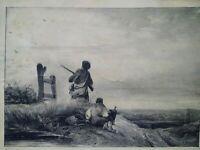 Belle gravure XIXème Le braconnier Levasseur Ardit chasse chasseurs