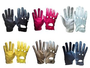 Genuine Leather Women Unlined Driving Gloves Snug Fit With Natural Leather Grain