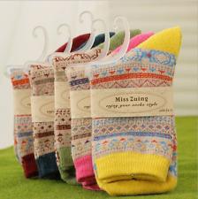 5 Pairs Women Wool Cashmere Thick Warm Soft Comfort Fashion Winter Socks Lot AAA