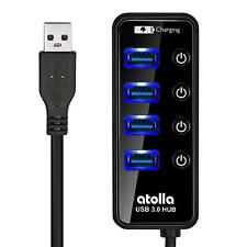 USB 3.0 Hub, atolla 4 Ports Super Speed USB 3 Hub Splitter with On Off Switch wi