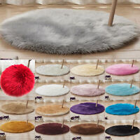 Fluffy Faux Fur Rug Floor Carpet Sheepskin Bedroom Small Mats Circle Irregular