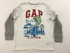 Gap Kids Boys Shirt Inner Long Sleeve China Dragon Graphic White Gray Medium