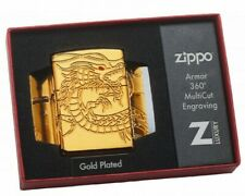Zippo STUNNING Windproof ARMOR Lighter 'Golden Dragon' Gold Plated 2019 NEW