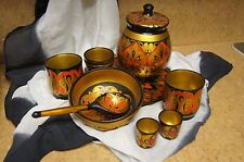 Vintage Russian Khokhloma Lacquer Hand Painted Wooden Dish Set of 11 Pieces