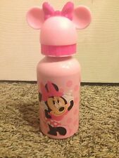 NEW DISNEY STORE MINNIE MOUSE  ALUMINUM WATER BOTTLE WITH 3D MICKEY EAR CAP CUP