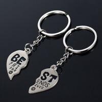 Heart Keychain Best Friends Forever Men Women Key Ring Friendship Gift Jewelry