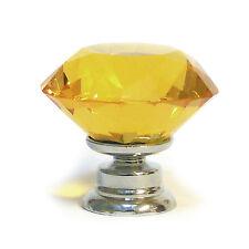 Corte Diamante De Vidrio Cristal Facetado Armario/Cajón Puerta Perilla-Ámbar - 30mm