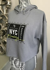 New listing New Look Grey Cropped Hoody Sweatshirt Oversize Stretch Jersey Age 14-15 Yrs