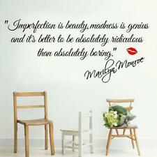 Imperfection is Beauty MARILYN MONROE Quote Vinyl Wall Decal Sticker Art Decor