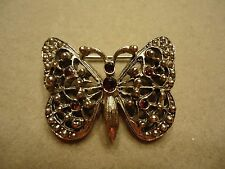 Vintage Filigree Lace Metalwork Ruby Red Rhinestone Butterfly Brooch Pin