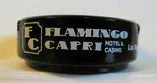 New ListingVintage Las Vegas Casino Hotel Ashtray ~ Flamingo Capri ~ Glass Round Black