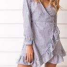Long Sleeve V Neck Mini Dress Autumn Winter Ruffles Striped Party Dress