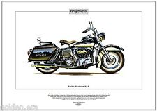 HARLEY-DAVIDSON FLH Fine Art Print - Classic US Police Special Edition Motorbike
