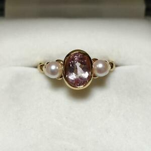 MIKIMOTO Auth K18YG about 4mm Akoya Pearl & Kunzite Ring Japanese 20 from Japan