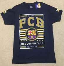 FC Barcelona Mens Navy Mes Que Un Club Tee Champions T-Shirt Size M