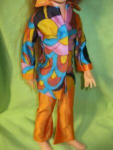 VINTAGE 1970's Kerry CRISSY Doll Size AFTERMARKET Clone MOD PRINT BLOUSE & PANTS
