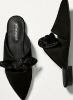 Anthropologie Jeffrey Campbell Black Suede CHARLIN BOW MULES 6.5 7 7.5 8 8.5 9