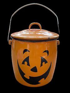"""HALLMARK HALLOWEEN Orange Enamelware Pumpkin Jack O Lantern Metal Candy Pail 10"""""""
