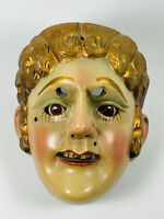 Antique Guatamala Dance of the Conquest Wood Carved Hand-Painted Mask WOW